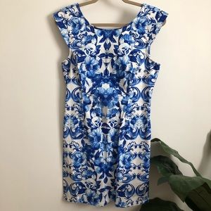 Blue & White Floral Cap Sleeve Dress
